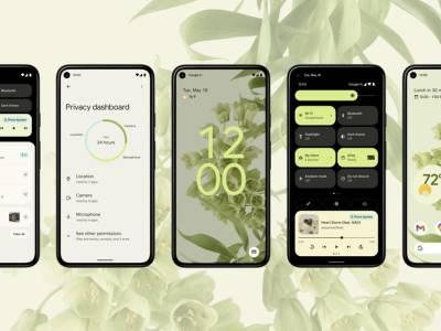 Ansichten eines Smartphones mit dem Betriebssystem Android 12