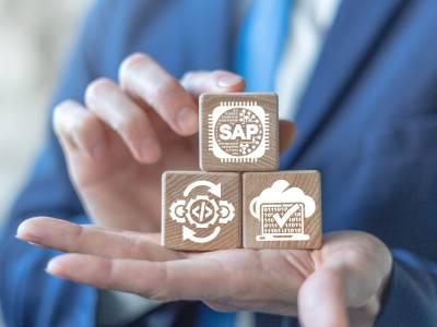 Hand mit SAP Symbolen