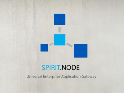 """Ein Werbelogo das sternförmig drei dunkelblaue Quadrate um ein hellblaues Quadrat zeigt mit der Unterschrift """"SPIRIT.NODE"""" Absatz """"Universal Enterprise Application Gateway""""."""